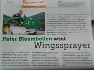 CHD veldspuit  met Wingssprayer afgeleverd bij Pater Bloembollen te Spierdijk.